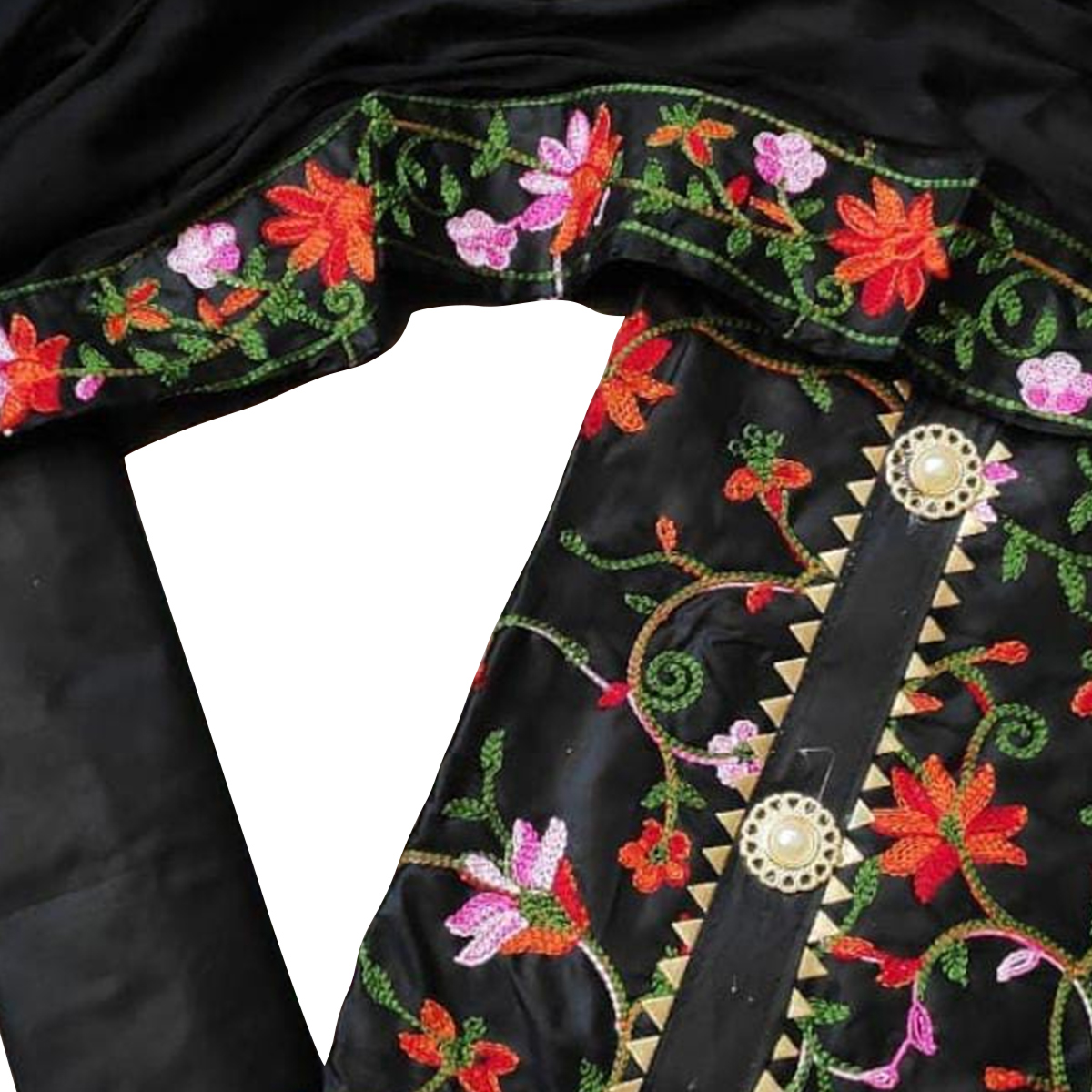 Beautiful Black Colored Partywear Embroidered Chanderi Cotton Dress Material