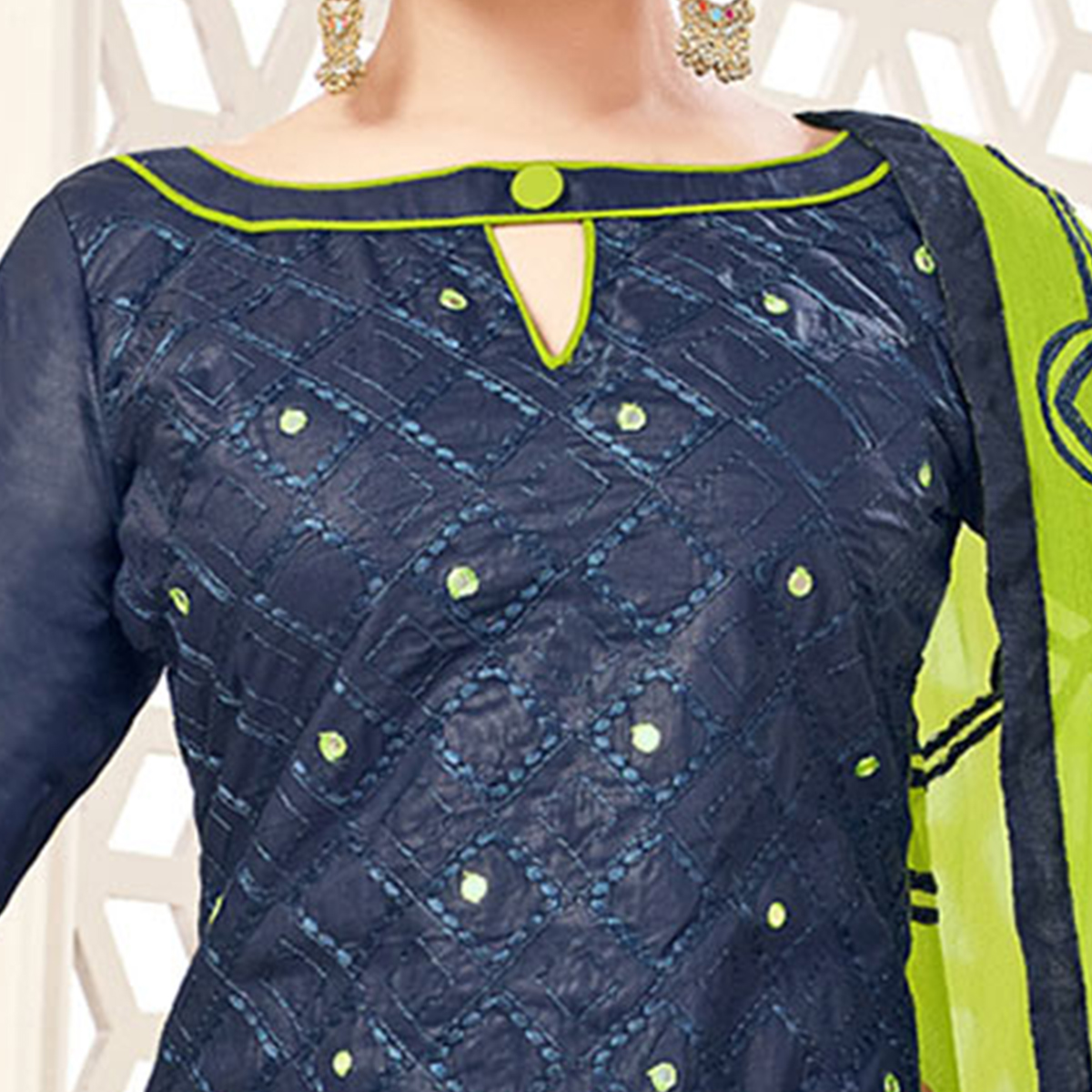 Navy Blue-Green Embroidered Partywear Cotton Salwar Suit