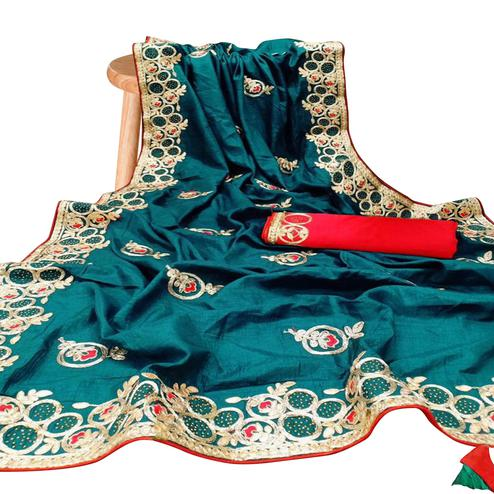 Innovative Teal Blue Colored Partywear Embroidered Silk Saree