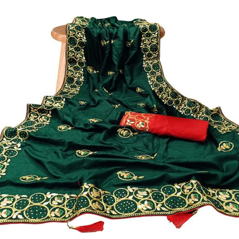 Eye-catching Green Colored Partywear Embroidered Silk Saree