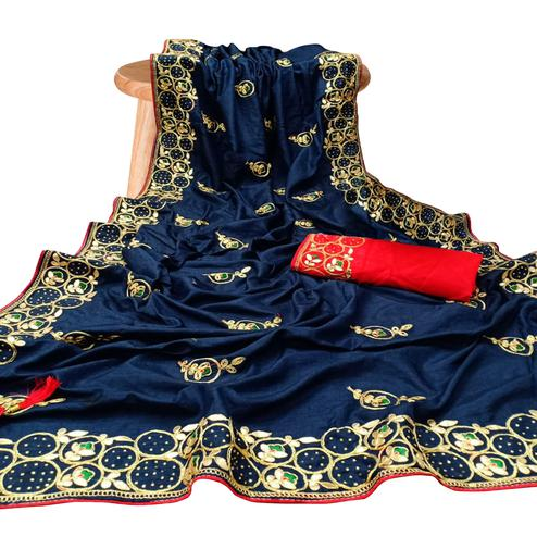 Fantastic Navy Blue Colored Partywear Embroidered Silk Saree
