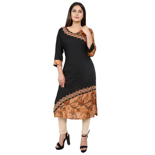 Intricate Black Colored Casual Wear Floral Embroidered Knee Length A-Line Rayon-Cotton Kurti