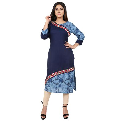 Arresting Blue Colored Casual Wear Floral Embroidered Knee Length A-Line Rayon-Cotton Kurti