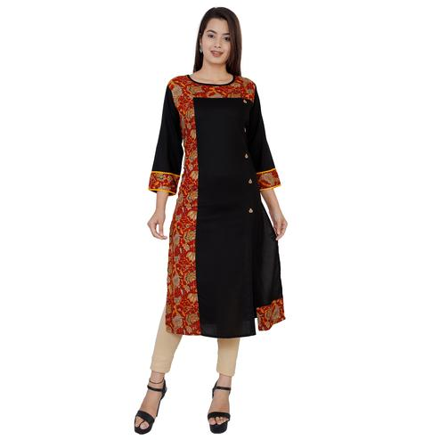 Desirable Black Colored Casual Wear Floral Printed Straight Rayon-Cotton Kurti