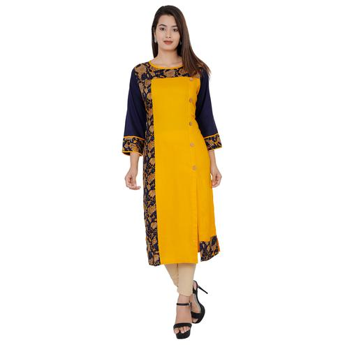 Exotic Yellow Colored Casual Wear Floral Printed Straight Rayon-Cotton Kurti