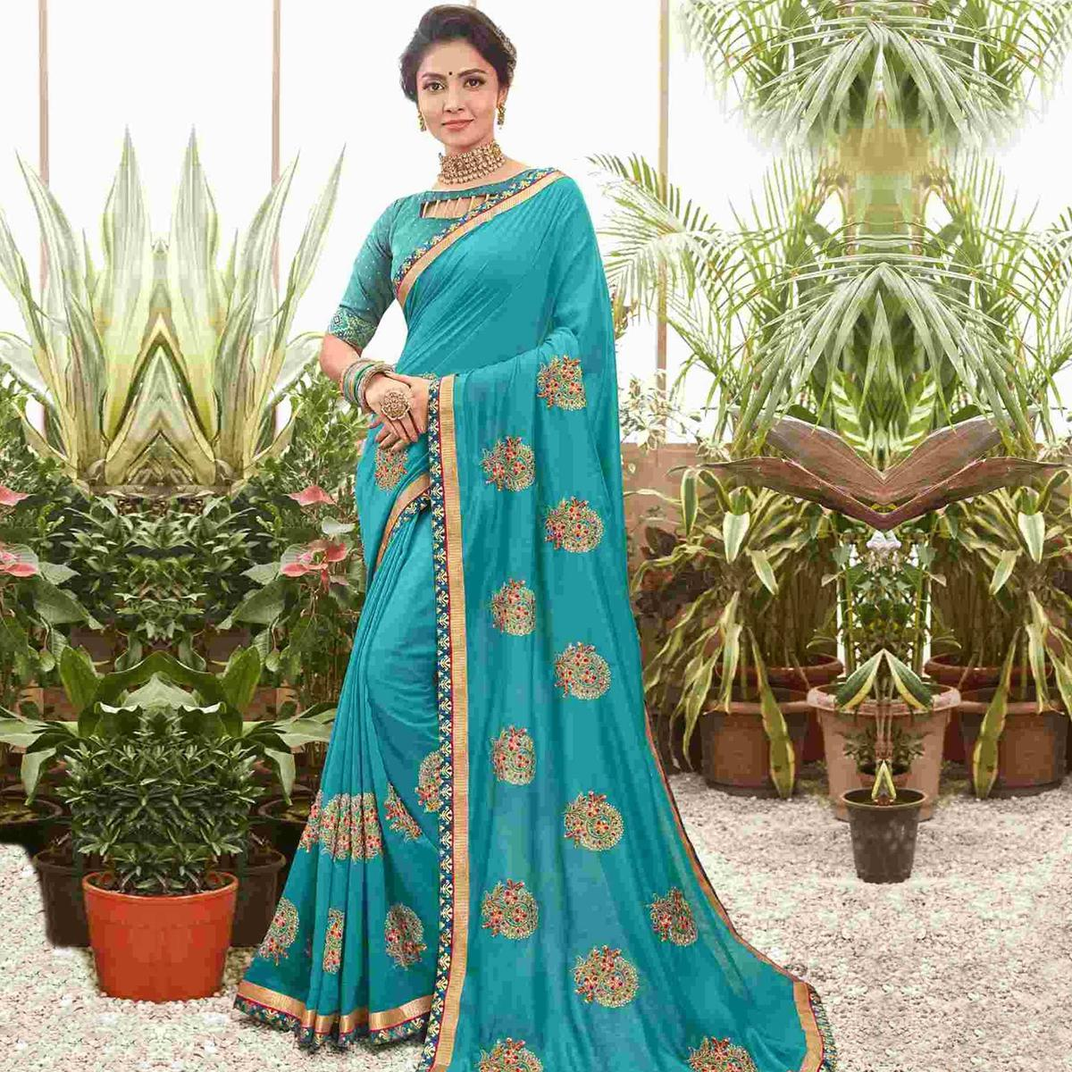 Trendy Blue Colored Party Wear Embroidered Chanderi Silk Saree