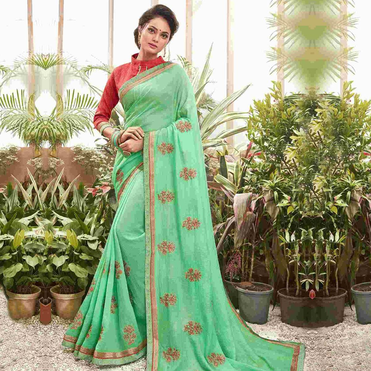 Opulent Green Colored Party Wear Embroidered Chanderi Silk Saree