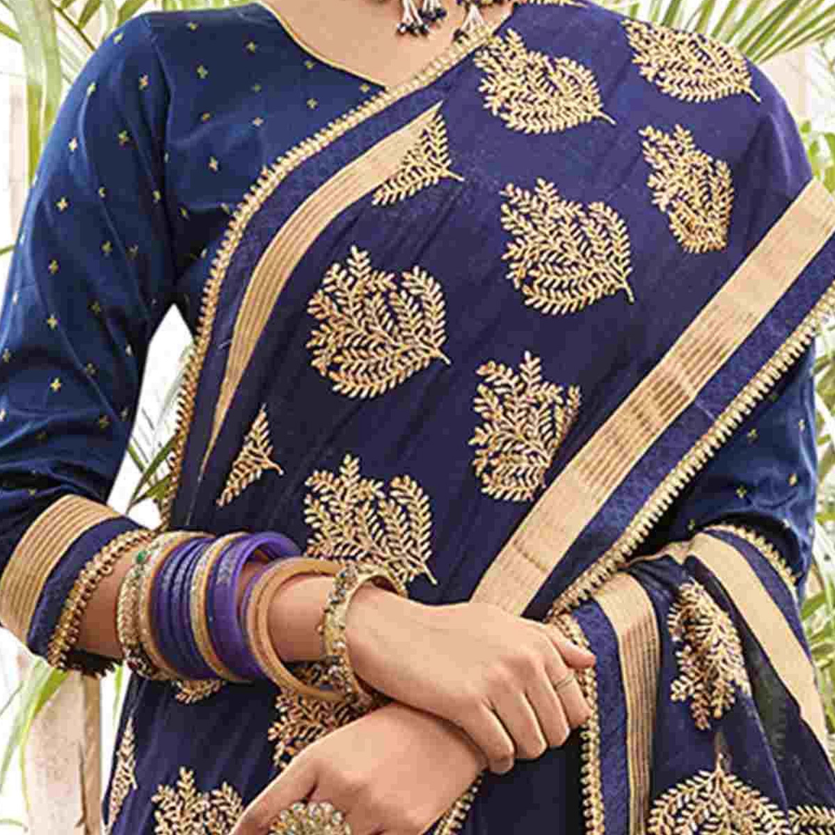 Exceptional Navy Blue Colored Party Wear Embroidered Chanderi Silk Saree