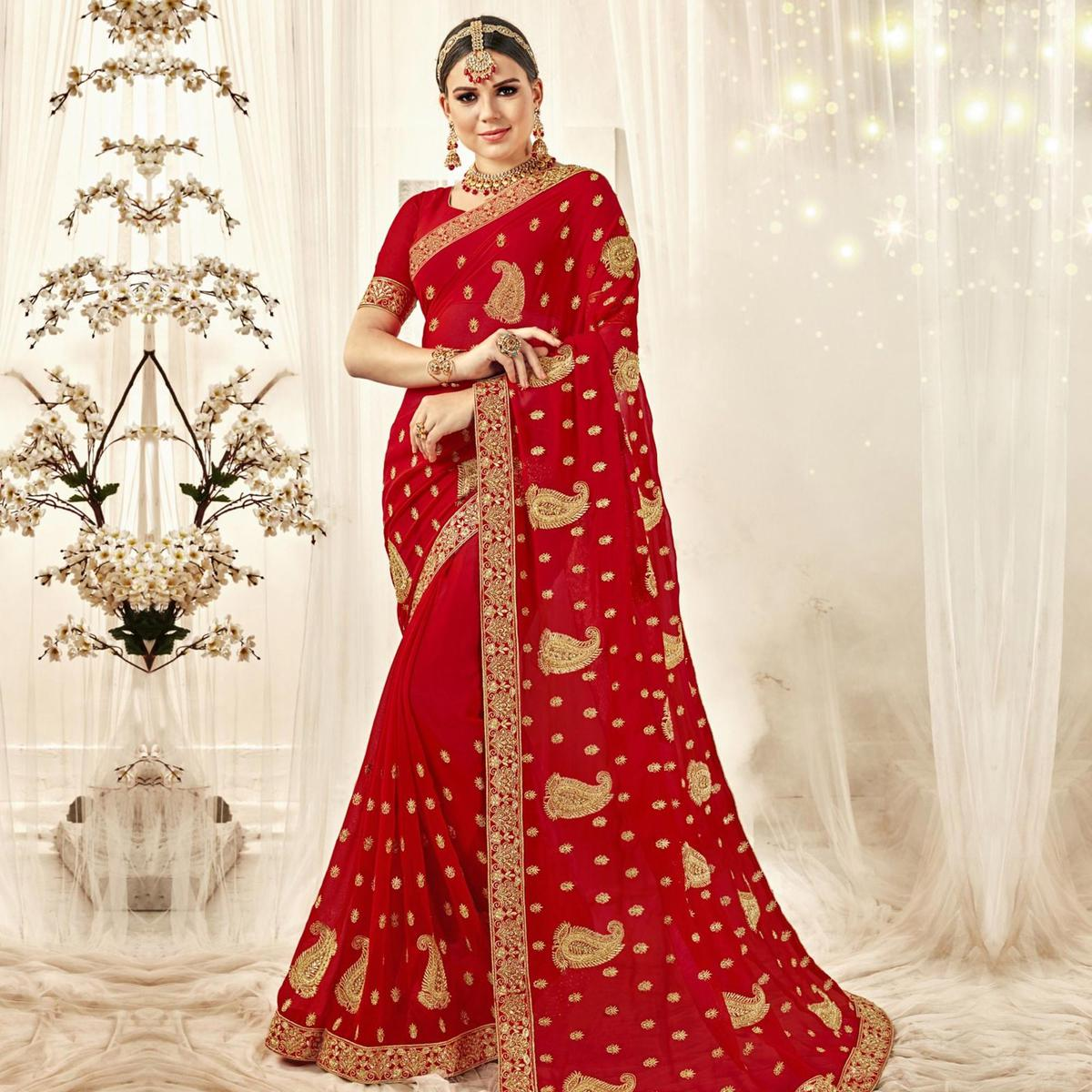 Magnetic Red Colored Party Wear Embroidered Georgette Saree