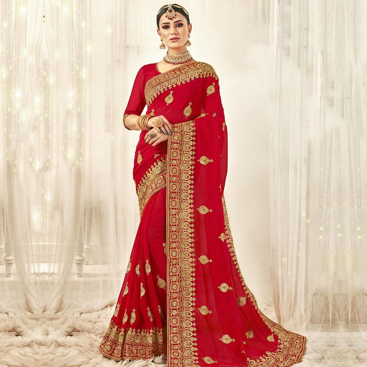 Hypnotic Red Colored Party Wear Embroidered Georgette Saree