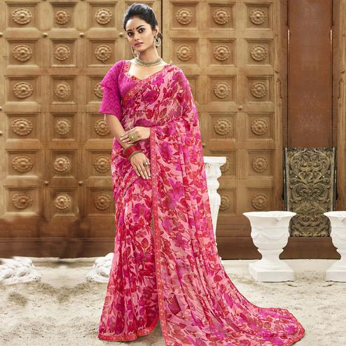 Alluring Pink Colored Casual Wear Floral Printed Chiffon Saree