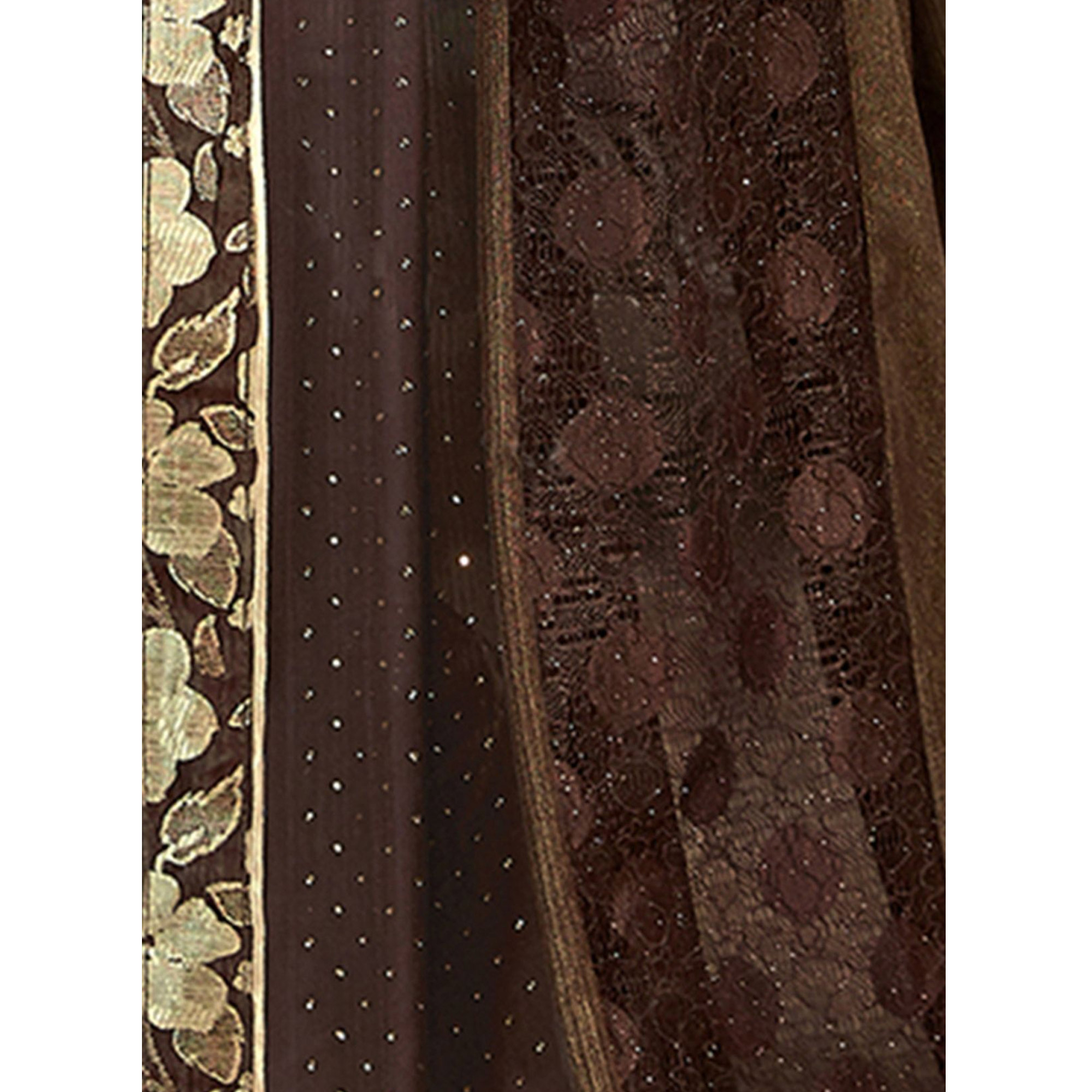 Groovy Brown Colored Party Wear Lycra Saree