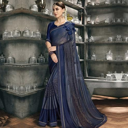 Adorning Blue Colored Party Wear Lycra Saree