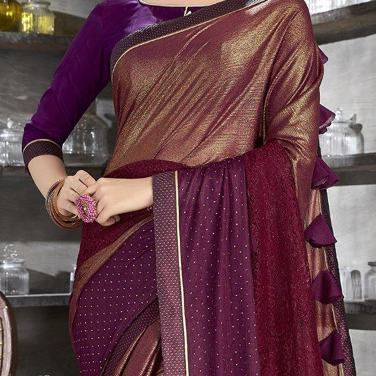 Adorable Brown Colored Party Wear Lycra Saree
