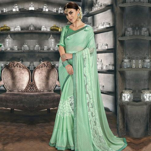 Glorious Green Colored Party Wear Chiffon Saree