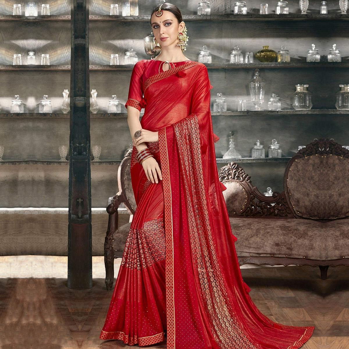 Beautiful Red Colored Party Wear Lycra Saree