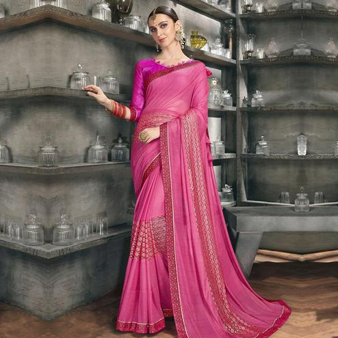 Blooming Pink Colored Party Wear Lycra Saree