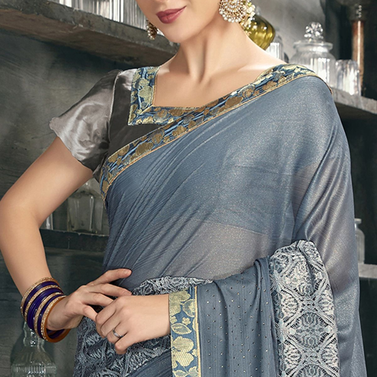Charming Grey Colored Party Wear Lycra Saree