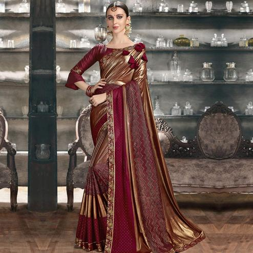 Jazzy Gold-Wine Colored Party Wear Lycra Saree