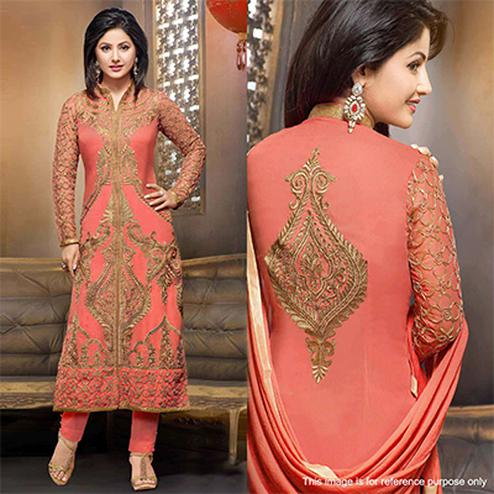 Orange - Peach Georgette Salwar Suit