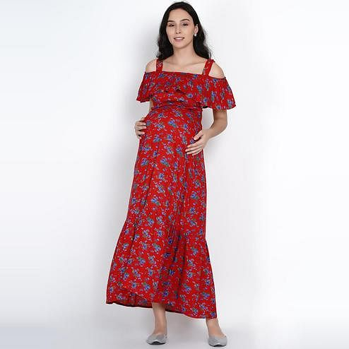 Mine4Nine - Women's Red Colored Floral Printed Rayon A-line Maternity Dress