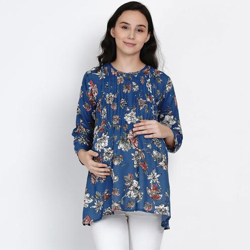 Mine4Nine - Women's Blue Colored Floral Printed A-line Crepe Maternity Top