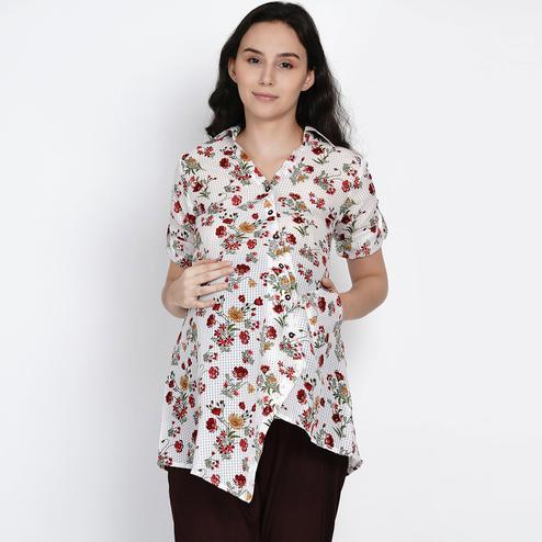 Mine4Nine - Women's White Colored Floral Printed Asymmetirc Crepe Maternity Top
