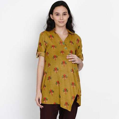 Mine4Nine - Women's Olive Green  Colored Floral Printed Asymmetirc Rayon Maternity Top