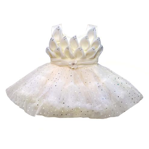 Titrit - White Colored Partywear Netted Minaret Frock For Girls
