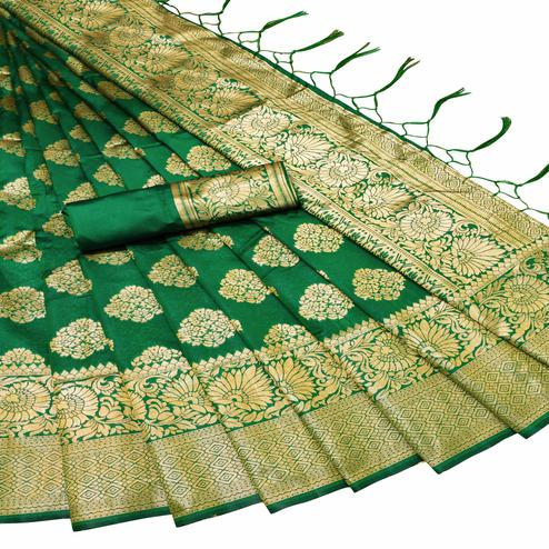 Lovely Green Colored Festive Wear Woven Banarasi Silk Saree