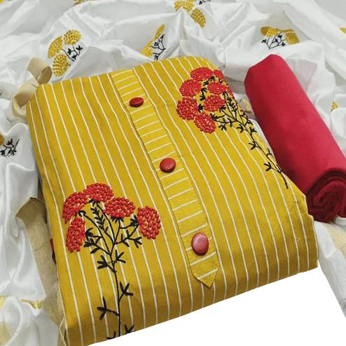 Jazzy Yellow Colored Partywear Embroidered Cotton Dress Material