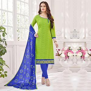 Green-Blue Partywear Embroidered Bombay Jacquard Salwar Suit