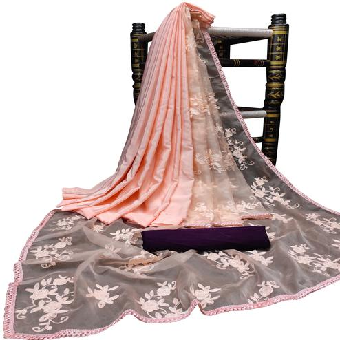 Amazing Light Peach Colored Partywear Embroidered Organza Saree
