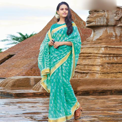 Mesmeric Turquoise Green Colored Casual Wear Printed Cotton Saree