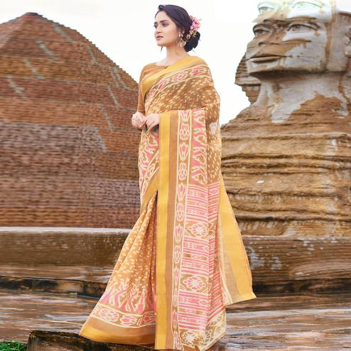 Unique Light Brown Colored Casual Wear Printed Cotton Saree