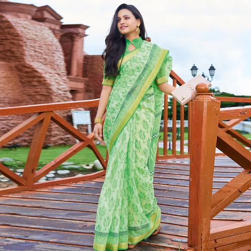 Refreshing Green Colored Casual Wear Printed Cotton Saree