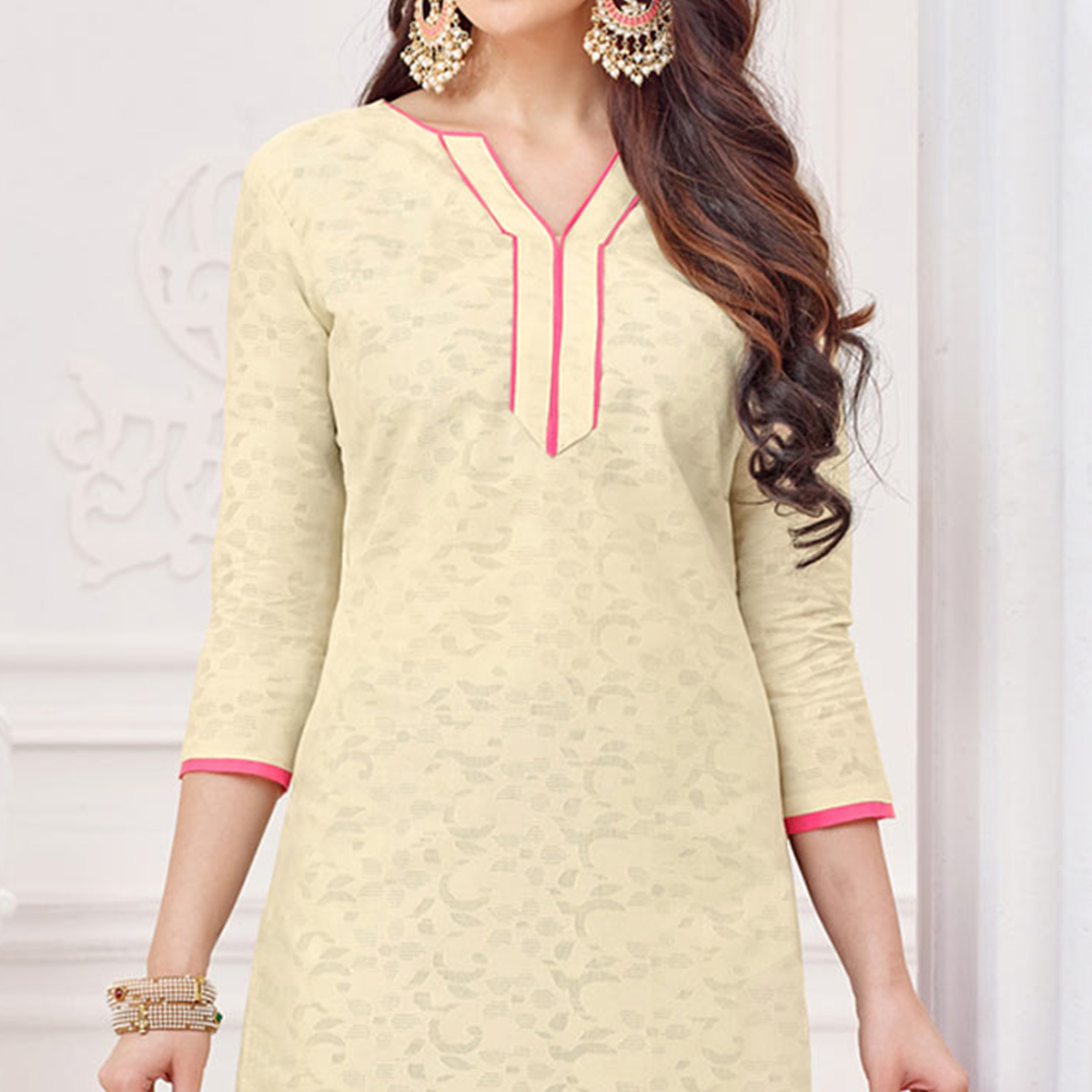 Off-White-Pink Partywear Embroidered Bombay Jacquard Salwar Suit