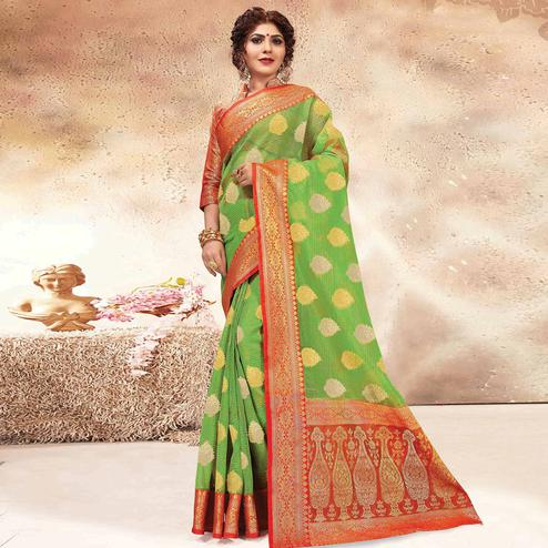 Imposing Green Colored Festive Wear Woven Banarasi Kota Silk Saree