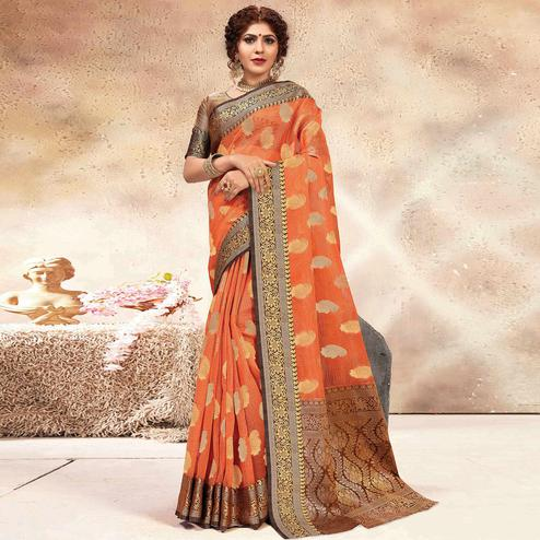 Lovely Orange Colored Festive Wear Woven Banarasi Kota Silk Saree