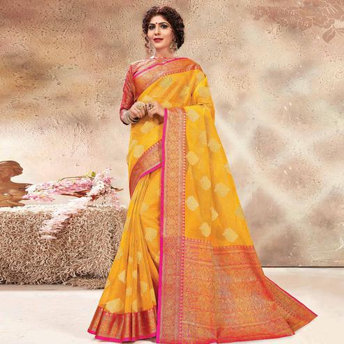 Majesty Yellow Colored Festive Wear Woven Banarasi Kota Silk Saree