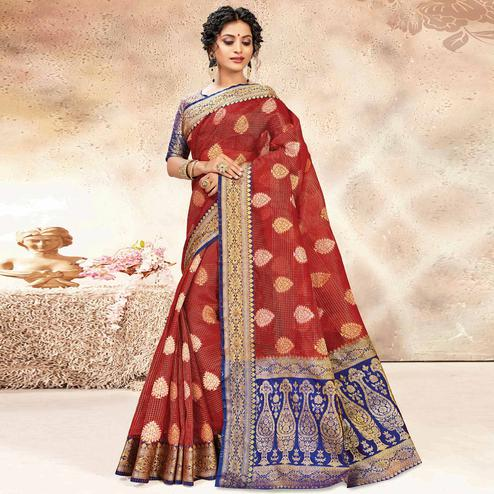 Impressive Red Colored Festive Wear Woven Banarasi Kota Silk Saree