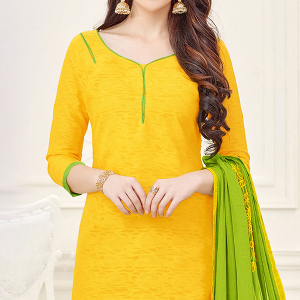 Yellow-Green Partywear Embroidered Bombay Jacquard Salwar Suit