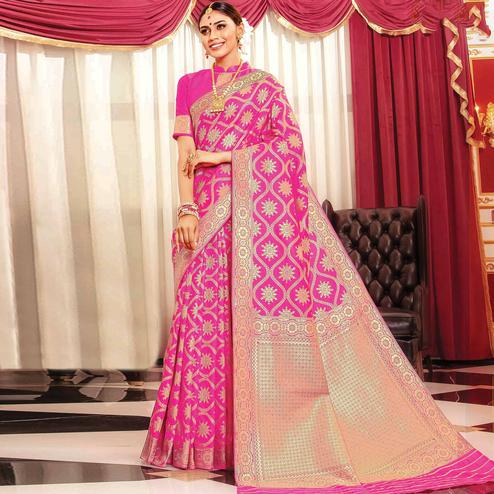 Exotic Pink Colored Festive Wear Woven Banarasi Silk Saree