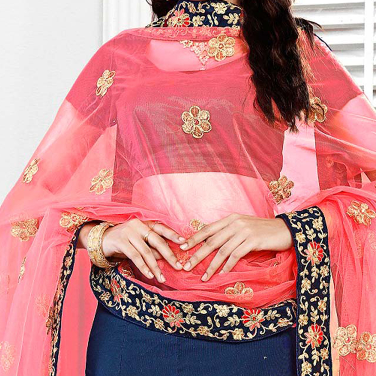 Beautiful Navy Blue Embroidered Festive Wear Tapetta Silk Lehenga Choli