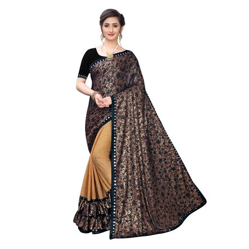 Groovy Coffee brown Colored Party Wear Printed Lycra Blend Half & Half Saree