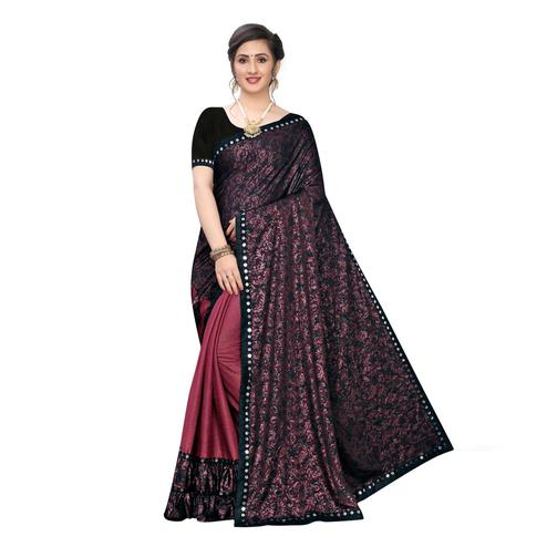 Entrancing Maroon Colored Party Wear Printed Lycra Blend Half & Half Saree