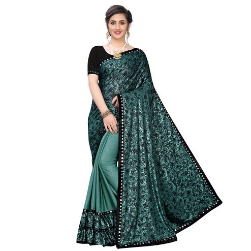 Adorning Rama Green Colored Party Wear Printed Lycra Blend Half & Half Saree