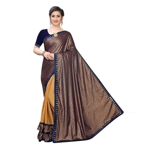 Adorable Coffee Colored Party Wear Printed Lycra Blend Half & Half Saree