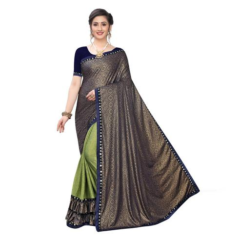 Glorious Green Colored Party Wear Printed Lycra Blend Half & Half Saree