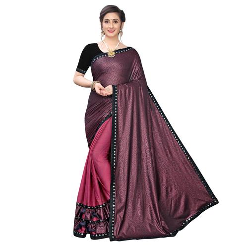 Attractive Maroon Colored Party Wear Printed Lycra Blend Half & Half Saree